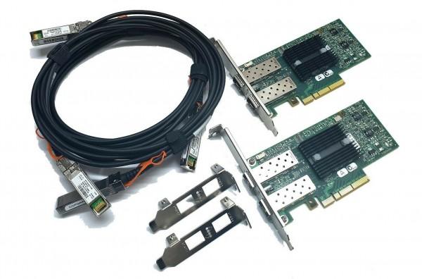 10G Netzwerk Kit 2x Mellanox CX312A ConnectX-3 Dual Port 10Gbe SFP+ 2x 3m Kabel